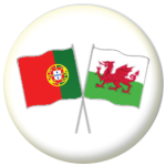 Portugal and Wales Friendship Flag 25mm Pin Button Badge